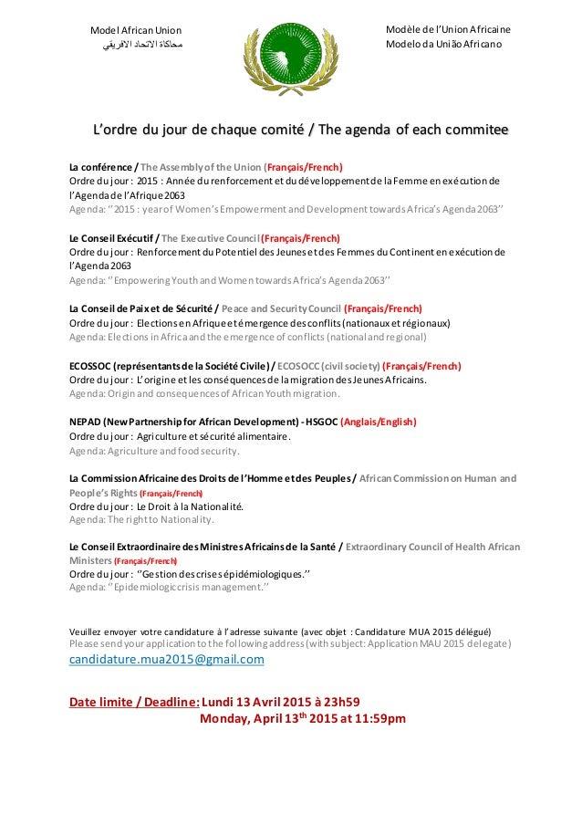Model AfricanUnion محاكاةاالتحاداالفريقي Modèle de l'UnionAfricaine Modeloda UniãoAfricano L'ordre du jour de chaque...