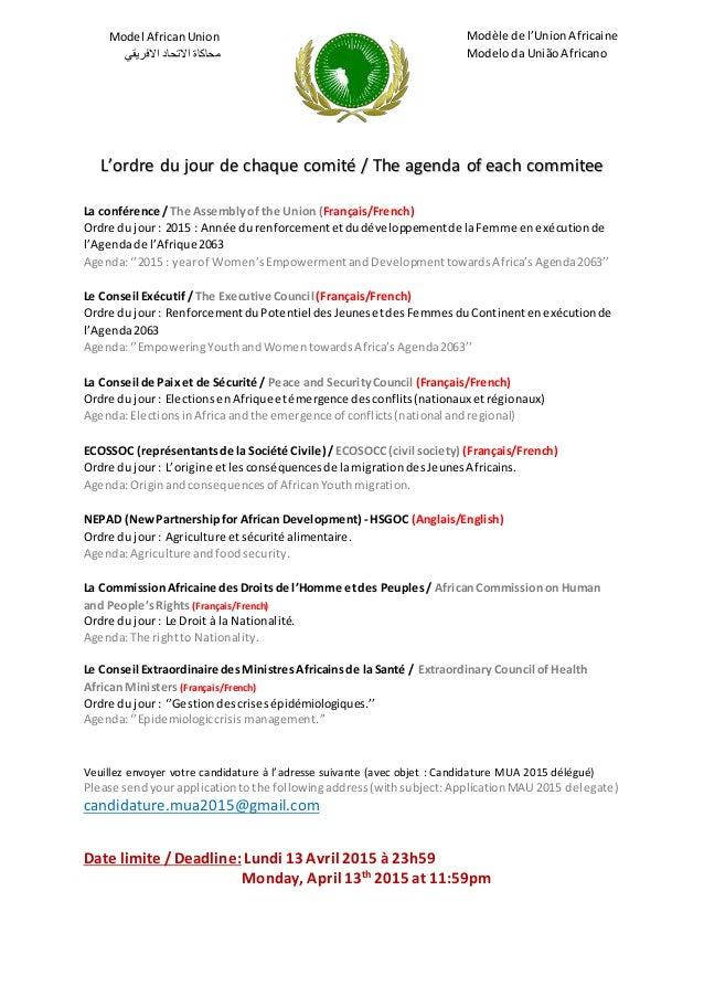 Model AfricanUnion محاكاةاالتحاداالفريقي Modèle de l'UnionAfricaine Modeloda União Africano L'ordre du jour de chaqu...