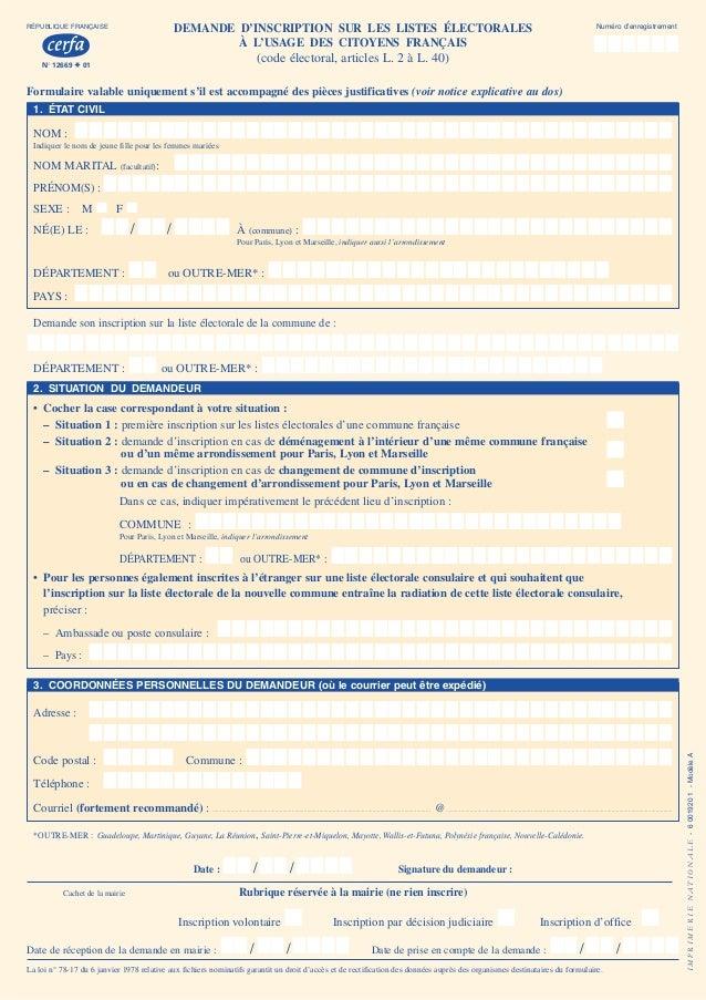 Formulaire D Inscription Sur Les Listes Electorales