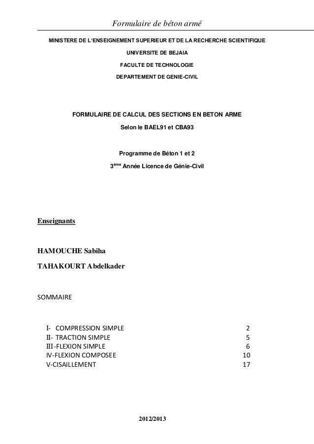 Formulaire de béton armé 1/18 MINISTERE DE L'ENSEIGNEMENT SUPERIEUR ET DE LA RECHERCHE SCIENTIFIQUE UNIVERSITE DE BEJAIA F...