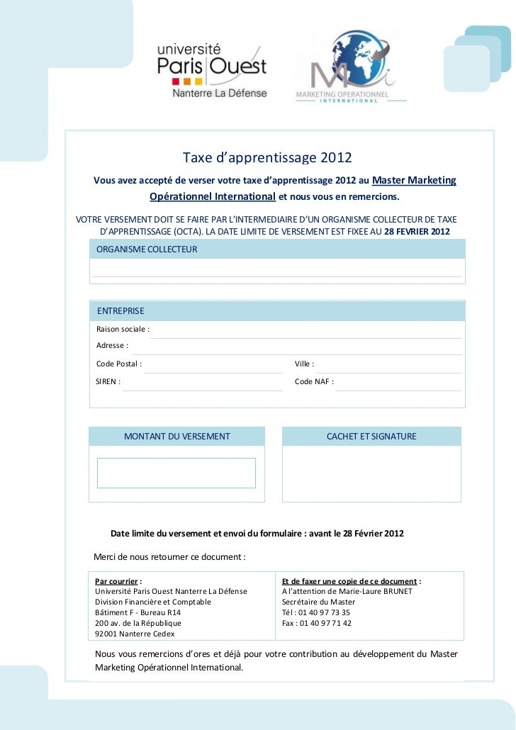 Taxe d'apprentissage 2012   Vous avez accepté de verser votre taxe d'apprentissage 2012 au Master Marketing               ...