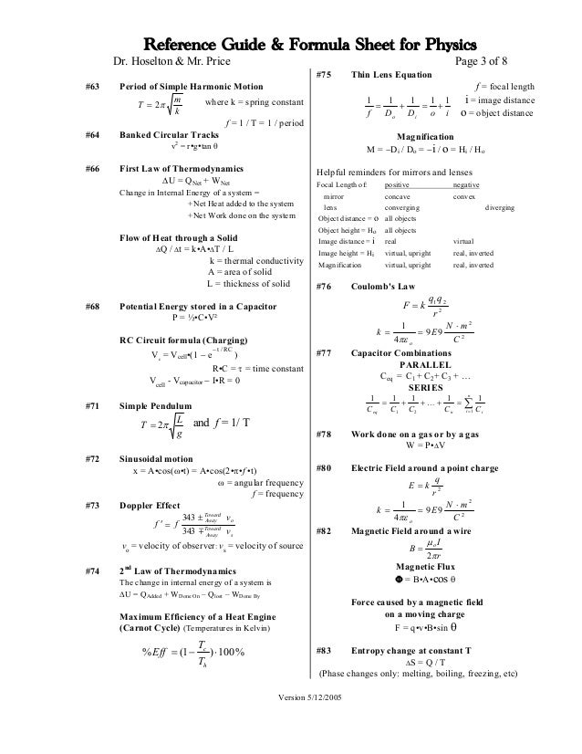 Physics Formula list (...