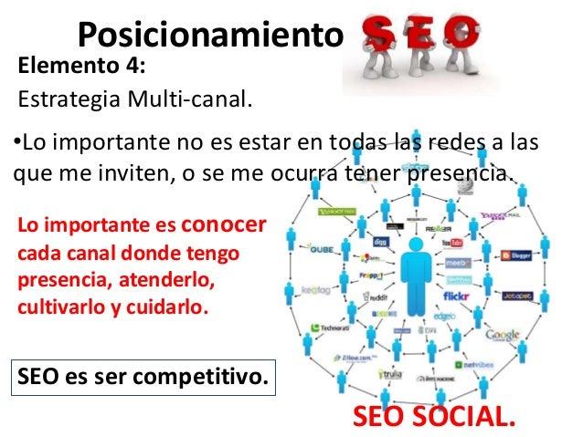 PosicionamientoElemento 4:Estrategia Multi-canal.•Lo importante no es estar en todas las redes a lasque me inviten, o se m...