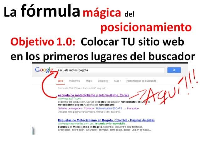 La fórmula mágica del                  posicionamiento Objetivo 1.0: Colocar TU sitio web en los primeros lugares del busc...