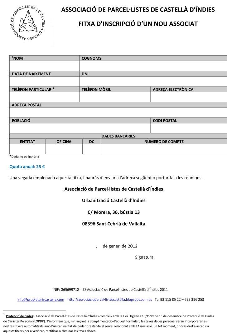 Formulari associació parcel·listes castellà d'índies