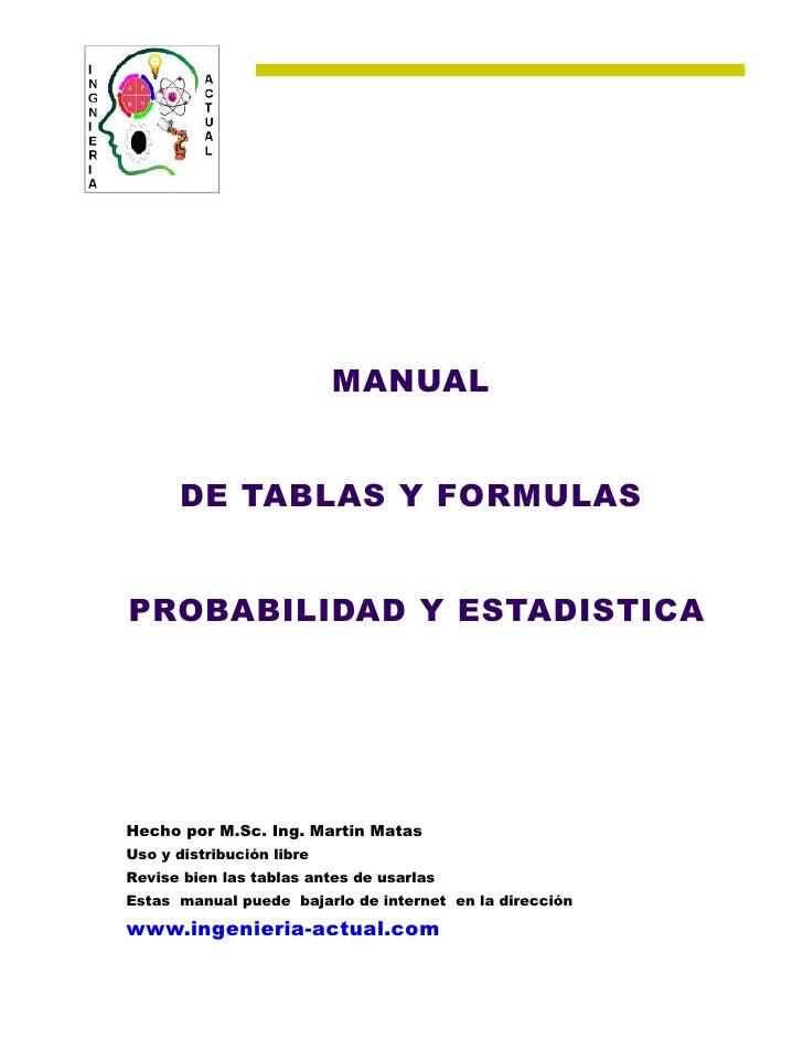 MANUAL       DE TABLAS Y FORMULASPROBABILIDAD Y ESTADISTICAHecho por M.Sc. Ing. Martin MatasUso y distribución libreRevise...