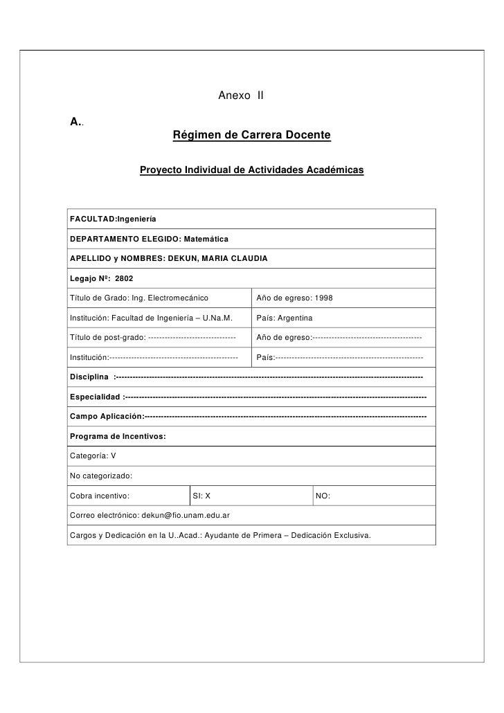 Anexo II  A..                                     Régimen de Carrera Docente                          Proyecto Individual ...
