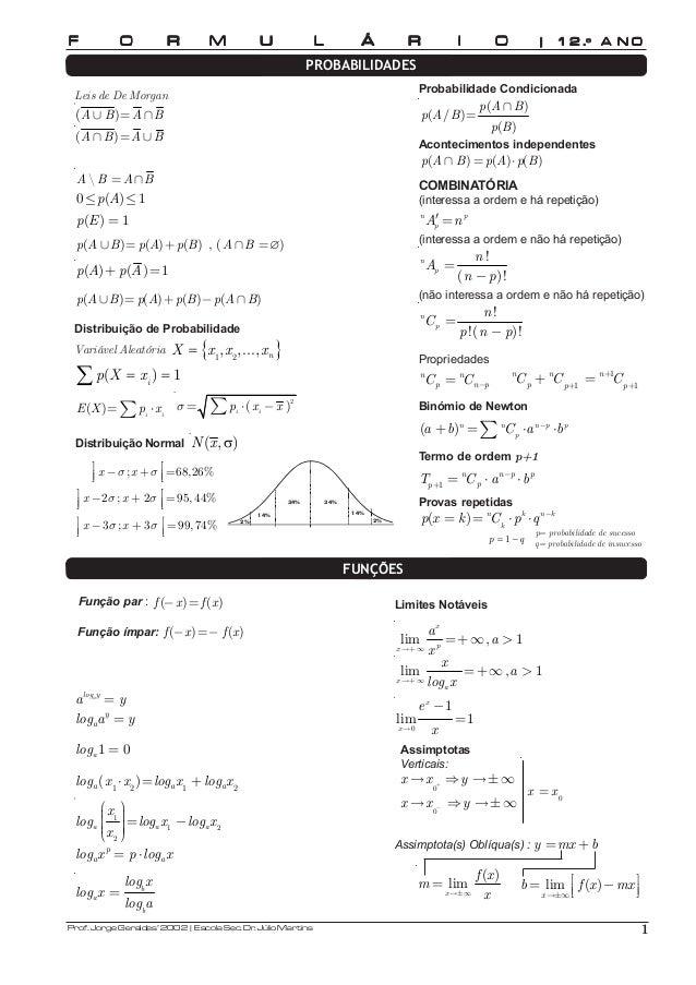 F O R M U L Á R I O | 1 2 .º A N O  Leis de De Morgan  (A ∪ B)=A∩B  (A ∩ B)=A ∪B  A  B =A∩B  0≤p(A)≤1  p(E) = 1  p(A ∪B)=p...