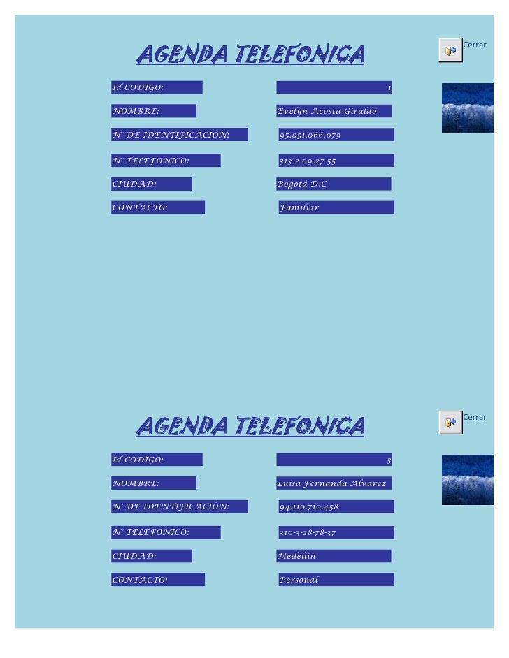 AGENDA TELEFONICA                                                     CerrarId CODIGO:                                    ...