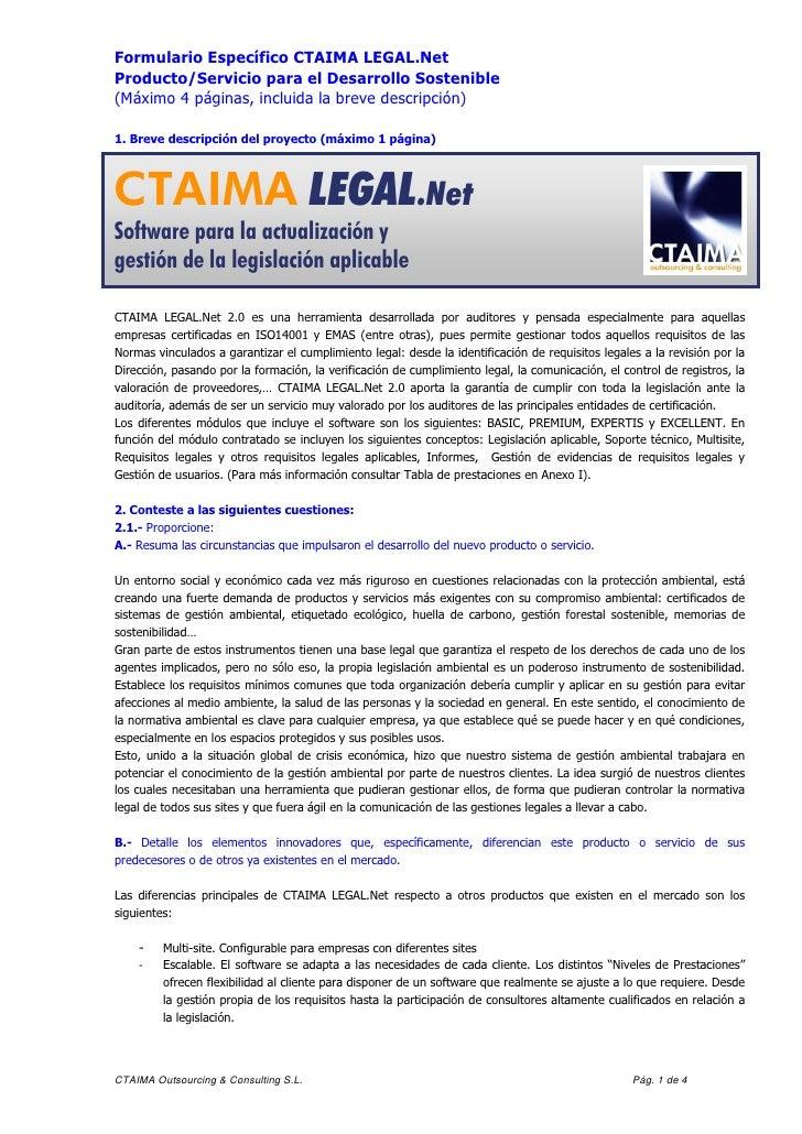Formulario Específico CTAIMA LEGAL.NetProducto/Servicio para el Desarrollo Sostenible(Máximo 4 páginas, incluida la breve ...