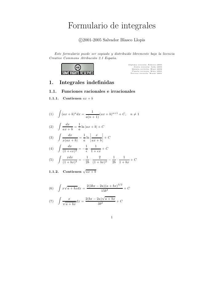 Formulario de integrales                     c 2001-2005 Salvador Blasco Llopis      Este formulario puede ser copiado y d...
