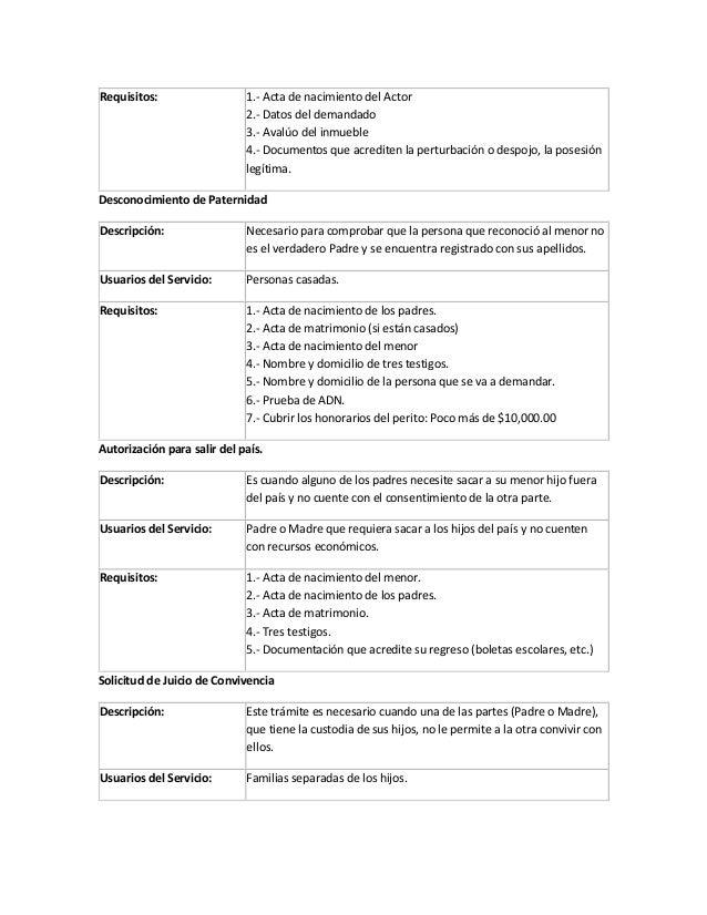 requisitos por tipo de juicio civil y/o familiar