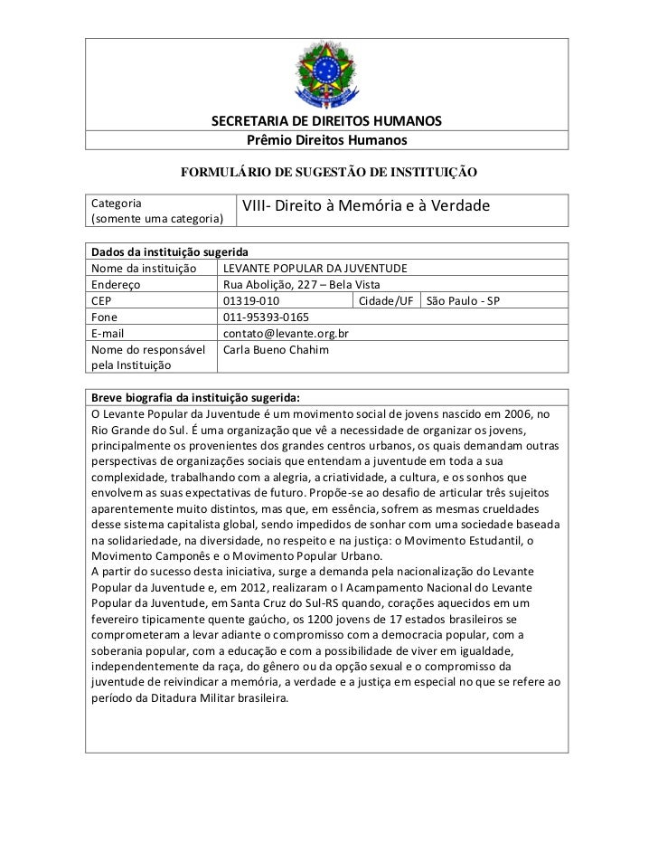 SECRETARIA DE DIREITOS HUMANOS                           Prêmio Direitos Humanos                FORMULÁRIO DE SUGESTÃO DE ...