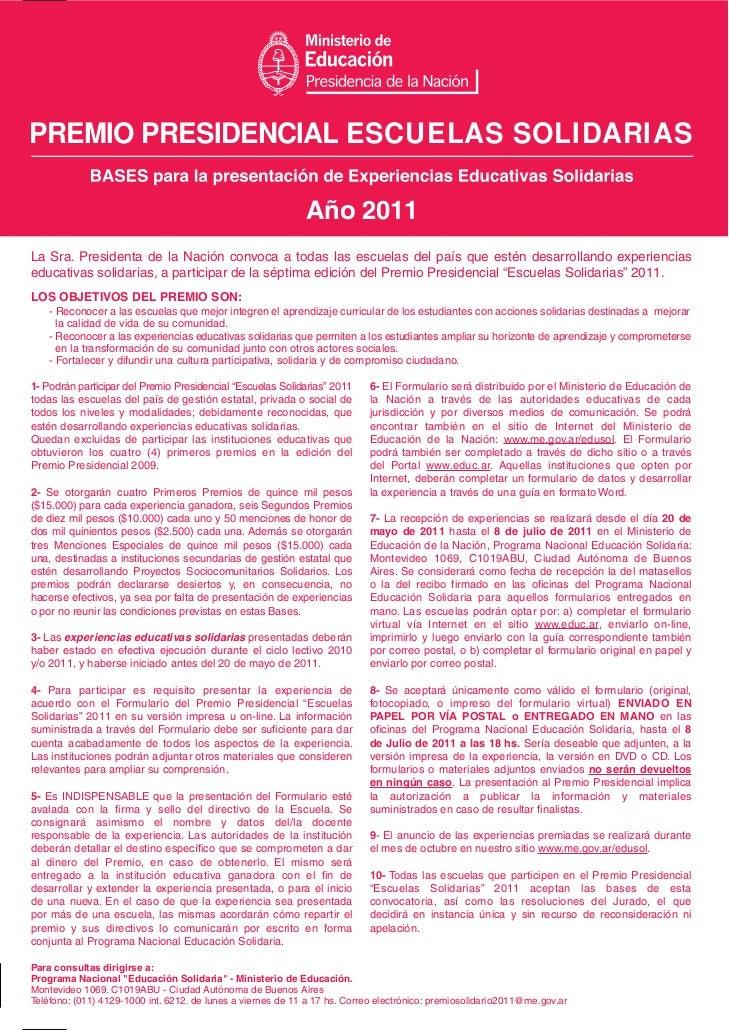PREMIO PRESIDENCIAL ESCUELAS SOLIDARIAS                                                             Año 2011La Sra. Presid...