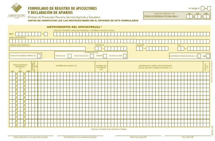 FORMULARIO DE REGISTRO DE APICULTORES                           Y DECLARACIÓN DE APIARIOS                           Divisi...