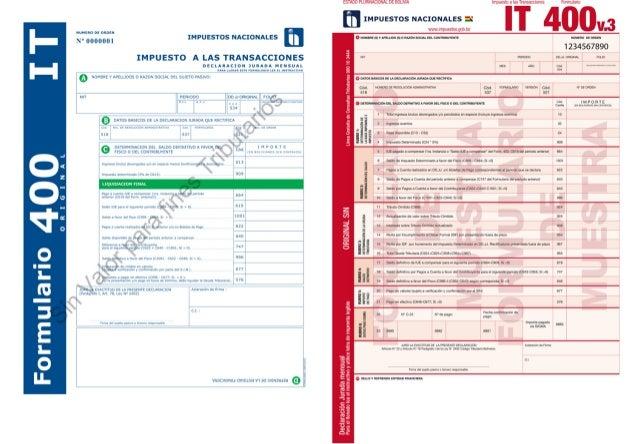 Formularios impuestos nacionales it 400  iva-200