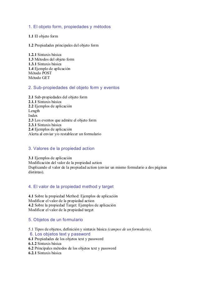 1. El objeto form, propiedades y métodos 1.1 El objeto form 1.2 Propiedades principales del objeto form 1.2.1 Sintaxis bás...