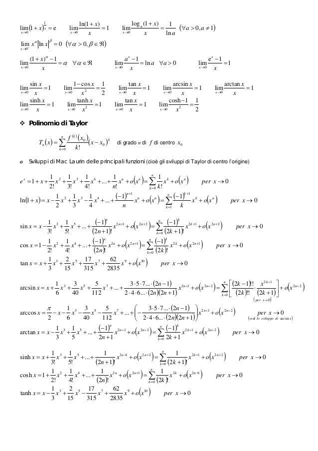 Sviluppo In Serie Di Taylor Esponenziale.Formulario Studio Di Funzione Campi Di Esistenza Limiti