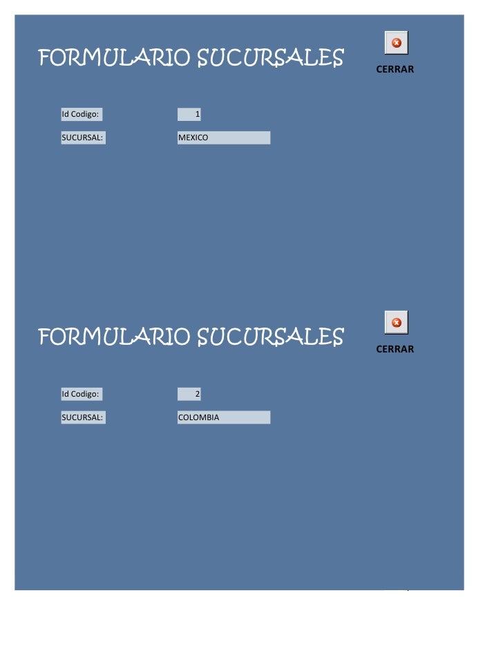 FORMULARIO SUCURSALES    CERRAR Id Codigo:      1 SUCURSAL:    MEXICOFORMULARIO SUCURSALES    CERRAR Id Codigo:      2 SUC...