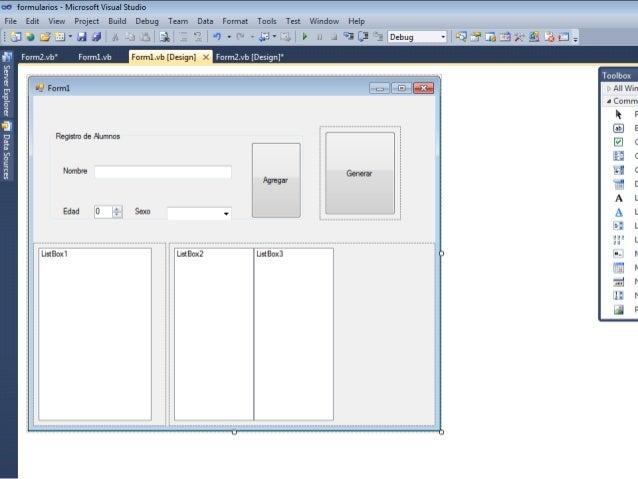 no formularios - Microsoft Visual Studio File Edit View Project Build Debug Team Data Format Tools Test Window Help       ...