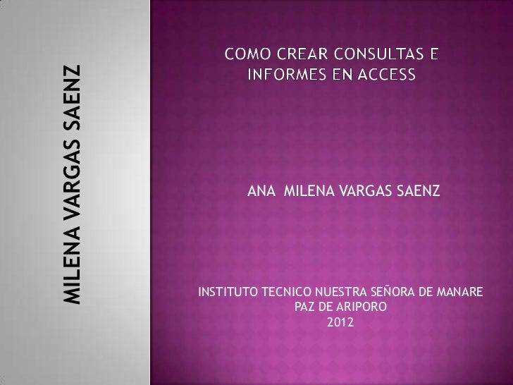 MILENA VARGAS SAENZ                             ANA MILENA VARGAS SAENZ                      INSTITUTO TECNICO NUESTRA SEÑ...