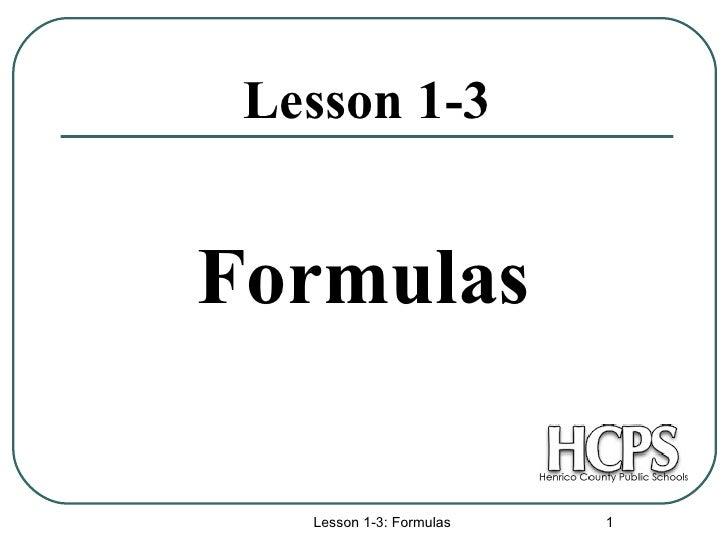 Lesson 1-3 Formulas