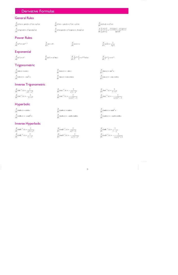 Derivative FormulasGeneral Rulesd                                                 d                                       ...