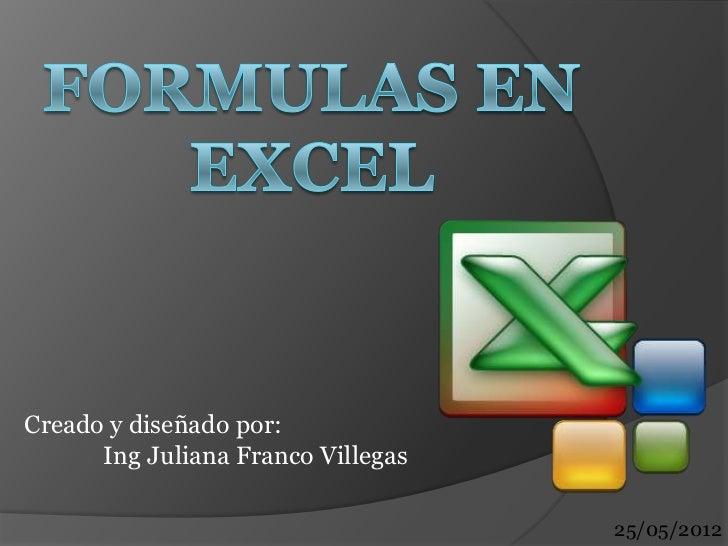 Creado y diseñado por:      Ing Juliana Franco Villegas                                    25/05/2012