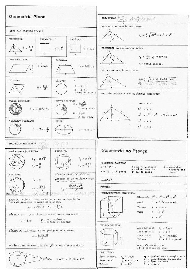 Geometria Plana           TRIÂNGULOS i¡ /          w 1) É  MEDIANAS em função dos lados  AREA DAS FIGURAS PLANAS          ...