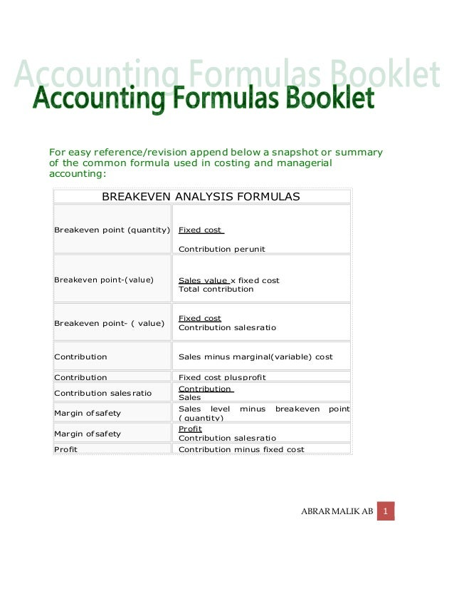 Accounting Formulas, Chart of Accounts, Dr/Cr Rule