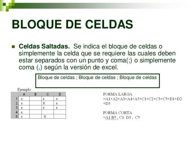 BLOQUE DE CELDAS   Celdas Saltadas. Se indica el bloque de celdas o    simplemente la celda que se requiere las cuales de...