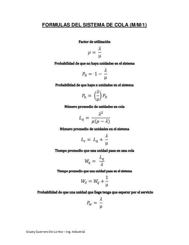 FORMULAS DEL SISTEMA DE COLA (M/M/1)<br />Factor de utilización<br />ρ= λµ<br />Probabilidad de que no haya unidades en el...