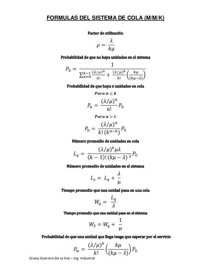 FORMULAS DEL SISTEMA DE COLA (M/M/K)                                      Factor de utilización                    Probabi...