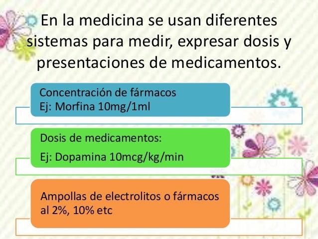 En la medicina se usan diferentes  sistemas para medir, expresar dosis y  presentaciones de medicamentos.  Concentración d...