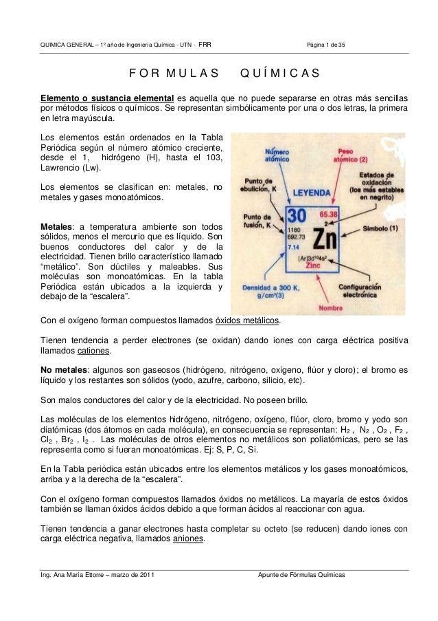 QUIMICA GENERAL – 1º año de Ingeniería Química - UTN - FRR Página 1 de 35 Ing. Ana María Ettorre – marzo de 2011 Apunte de...