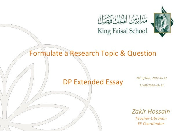 Formulate research topic and question@Extended Essay