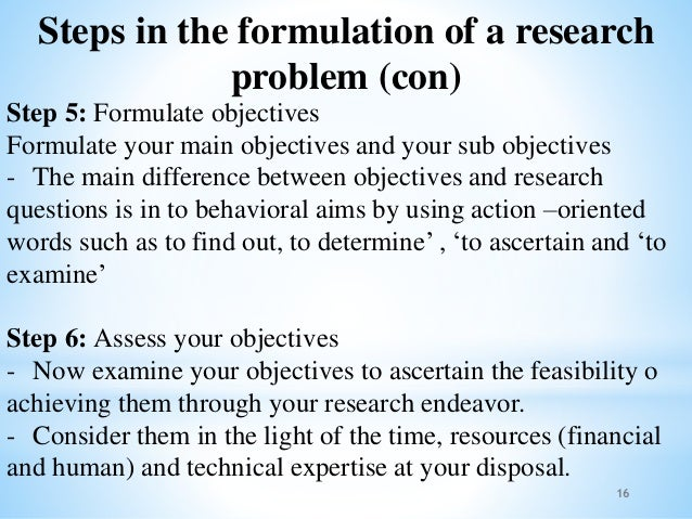 formulation of research problem