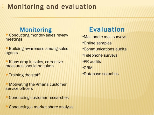 evaluation monitoring methods of crm plan marketing essay Monitoring and evaluation: evaluation and monitoring they are tabulated as a set of contracted completions or milestone events taken from an activity plan.