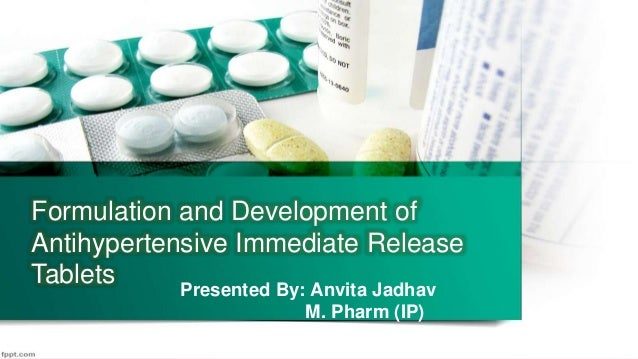 Formul 1 Formulation and Development of Antihypertensive Immediate Release Tablets Presented By: Anvita Jadhav M. Pharm (I...