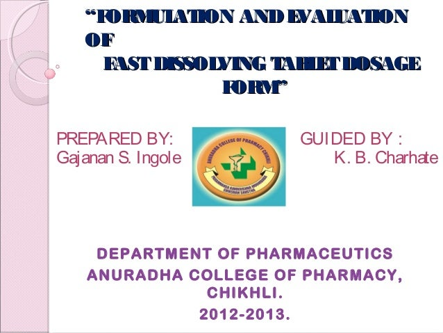 Oral disintegrating tablets thesis