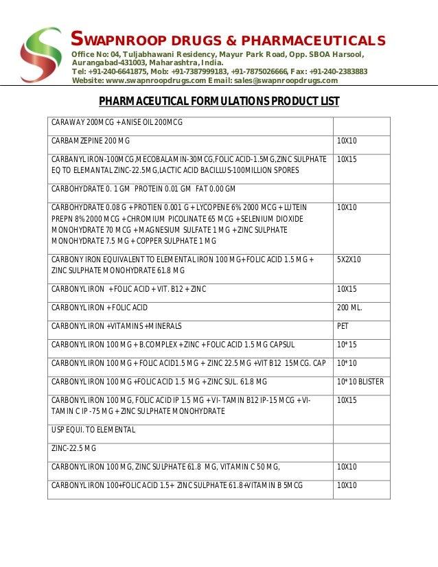 Formulation Product List