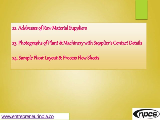 22. Addresses of Raw Material Suppliers 23. Photographs of Plant & MachinerywithSupplier's Contact Details 24. Sample Plan...