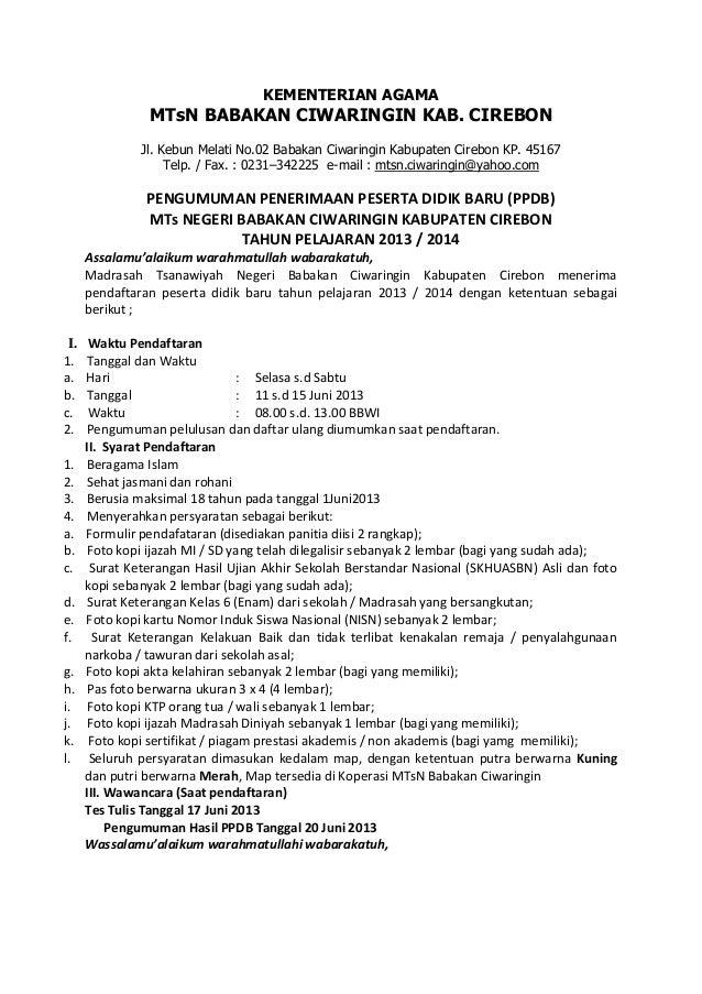 Formulir Pendaftaran Mts N Ciwaringin