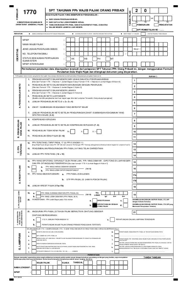 Formulir Form Spt Tahunan Op Orang Pribadi 1770