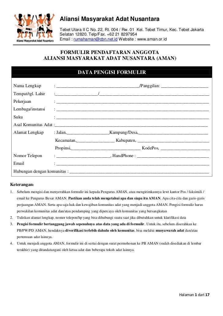 Aliansi Masyarakat Adat Nusantara                                  Tebet Utara II C No. 22, Rt. 004 / Rw. 01 Kel. Tebet Ti...