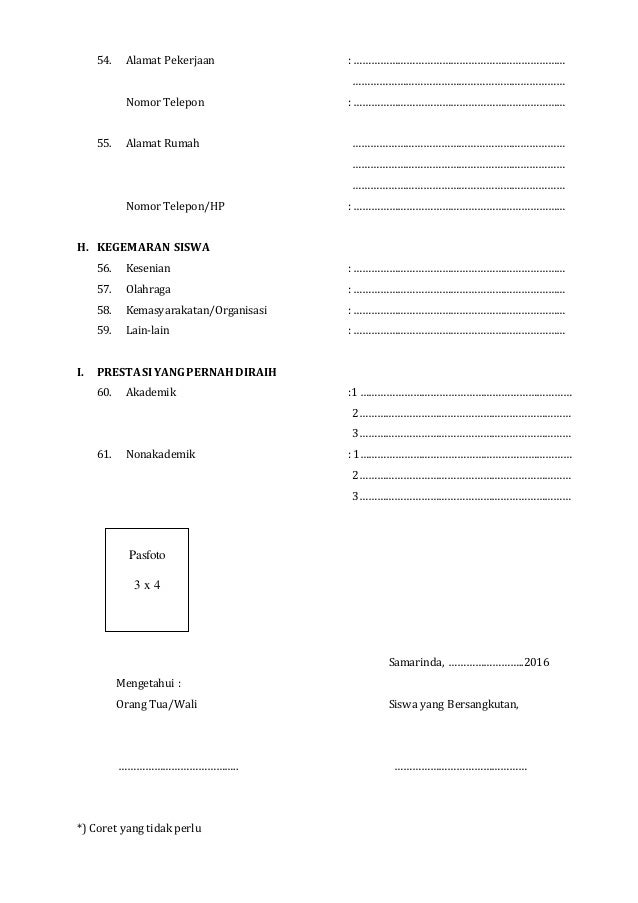 Formulir Daftar Ulang Ppdb 2016