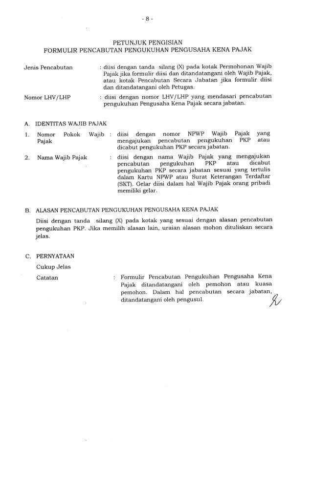 Formulir Pencabutan Pengukuhan Pkp Per 20 2013
