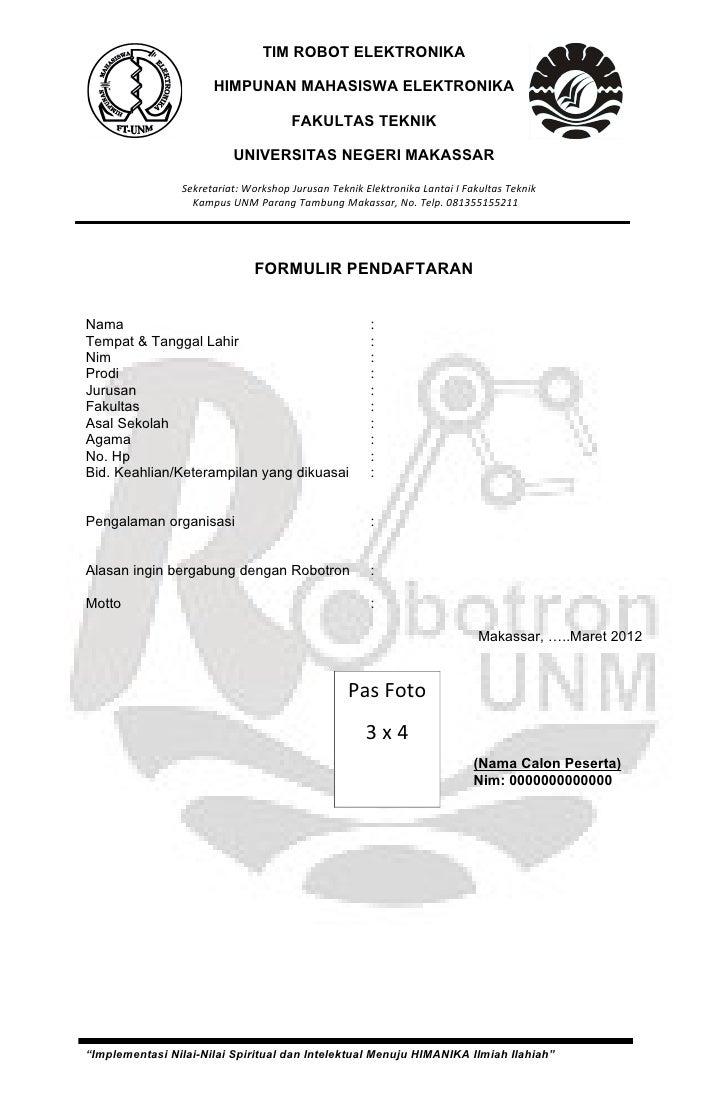 Contoh Formulir Pendaftaran Ekstrakurikuler Pramuka
