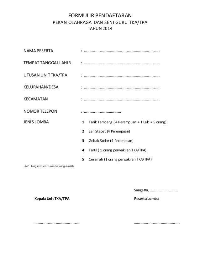 Formulir Pendaftaran Lomba Porseni