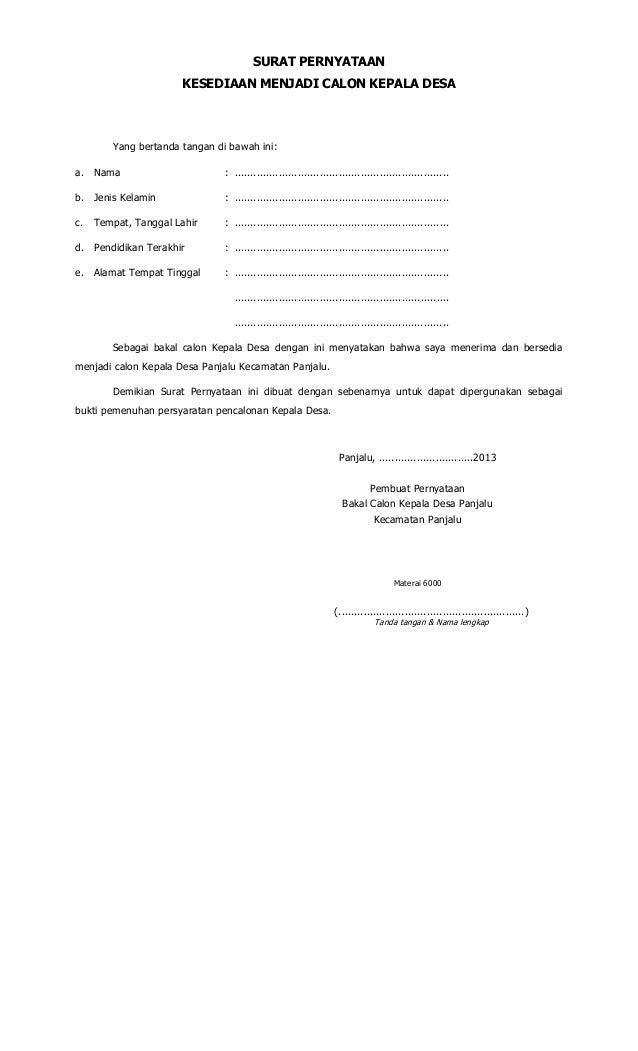 Contoh Surat Pernyataan Dukungan Calon Gubernur Surat 16